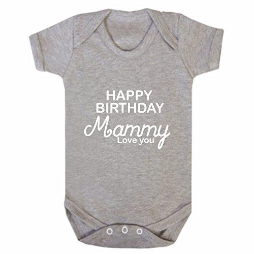 "Bullshirt Strampler mit Aufschrift ""Happy Birthday Mammy"", kurzärmelig, Grau grau 12-18 Monate"