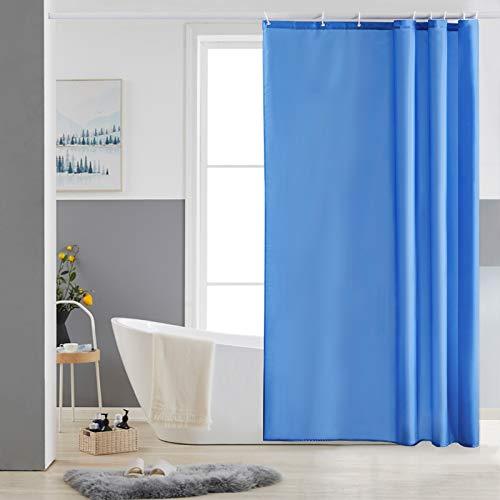Furlinic Duschvorhang 120x180 Textil Badvorhang aus Polyester Stoff Schimmelresistent Wasserabweisend Waschbar Blau mit 8 Duschvorhangringen.