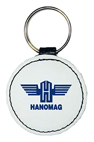 Bimaxx Leder Schlüsselanhänger | Hanomag Logo | rund | weiß