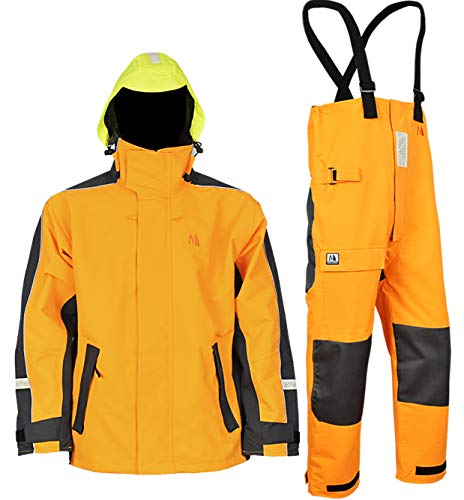 Navis Marine Waterproof Sailing Jacket and Trousers Foul Weather Gear Rain Suit Breathable Windproof (Gold, L)