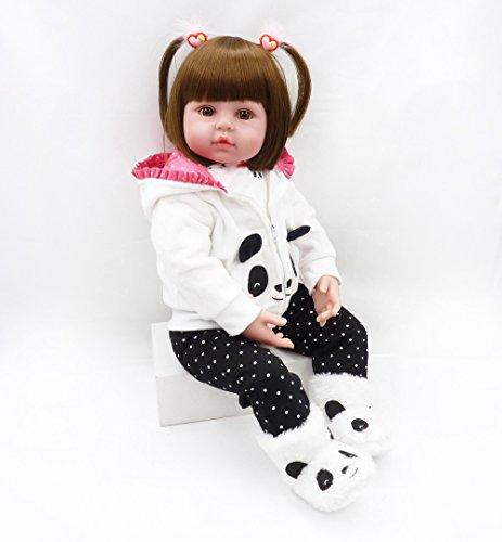 ZIYIUI 20 Zoll Lebensechte Puppe Reborn Babys Lange Haare Mädchen Silikon Dolls Reborn Babypuppen Kinder Spielzeug Geschenk