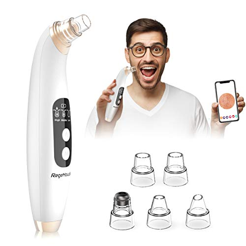 Blackhead Remover Pore Vacuum with Camera, RegeMoudal Blackhead Vacuum WiFi Real-time Skin Screen Facial Pore Cleaner Electric Acne Comedone Extractor, with 5 Replaceable Probes 20X Microscope 6 LED