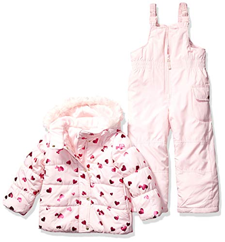Carter's Girls' Toddler Heavyweight Jacket and Pants Snowsuit, Hearts on Pink Blush, 3T