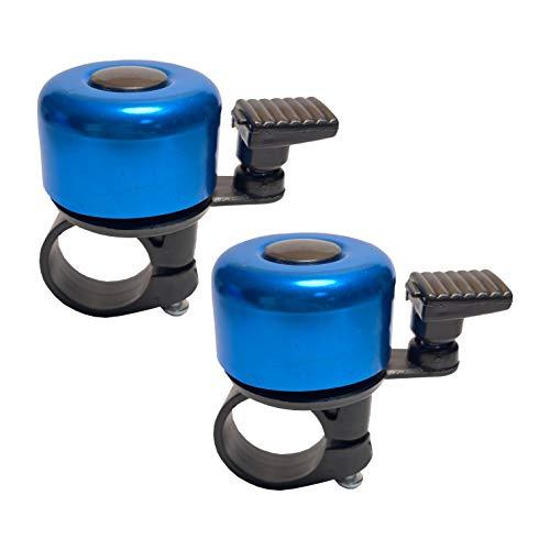 Intoy Fahrradklingel aus Legierung, Mini, lauter klarer Klang, für Erwachsene und Kinder, passend für 7/8 Zoll Fahrradlenker (blau, 2 Stück)