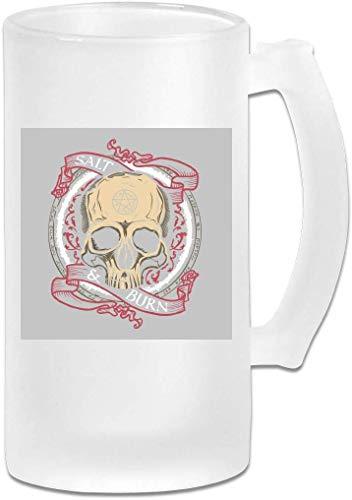 16oz Mattglas Bier Stein Mug Cup - Supernatural Salz und brennen Schädel - Graphic Mug