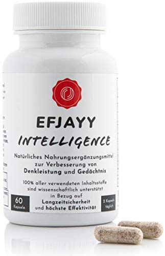 EFJAYY Intelligence – Natürlicher Brain Booster I 100{40c3caae6302d0ee3feaaff03a40df8bd67656bfec6d5e22769bf23a3b270846} natürliche Formel für Konzentration & Gedächtnis I Hohe Dosierung & Ideale Bio-Verfügbarkeit I 60 Kapseln I Ohne Noopept - Ritalin - Adderall