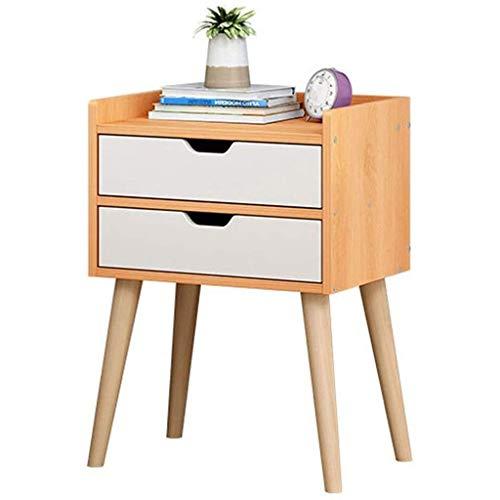 Mesilla de noche Mesa de noche de mesa de noche de la mesita de noche con 2 cajones de almacenamiento para el dormitorio sala de estar de madera mira muebles decentes Mesita de noche ( Color : Beige )