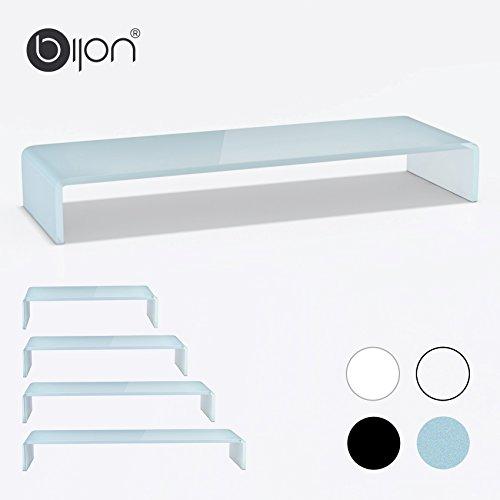 bijon® TV Aufsatz Glas Bildschirm-Erhöhung | PC Monitor-Erhöhung, Schreibtisch-Aufsatz für Laptop Erhöhung, Monitor-Erhöhung | (B/T/H) 900x300x130mm - superweiß