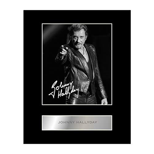 Johnny Hallyday Photo dédicacée encadrée