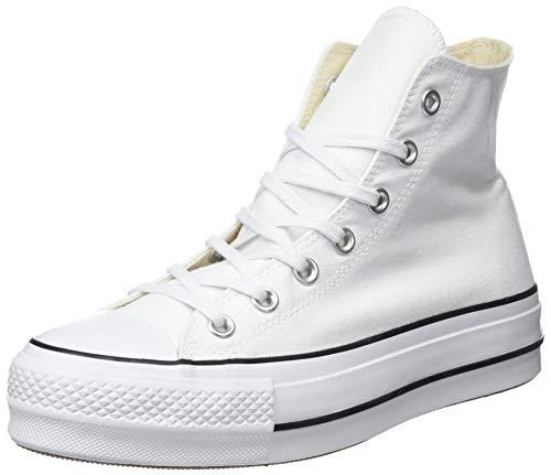 Converse Chuck Taylor CTAS Lift Hi, Zapatillas para Mujer, Blanco (White/Black/White 102), 38 EU