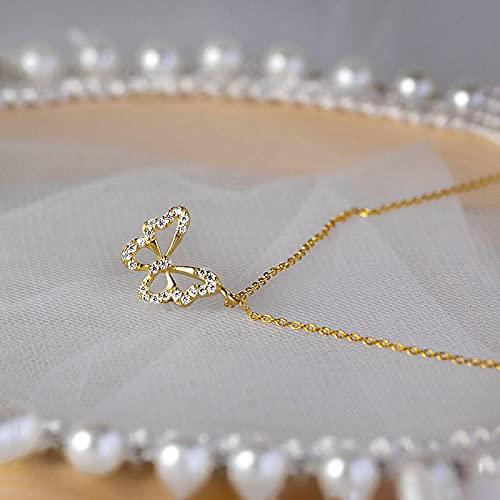 Collar Collar De Mariposa Hueca De Plata De Ley 925 para Mujer, Cadena De Clavícula De Circón De Lujo Ligero, Joyería, Regalos, Oro