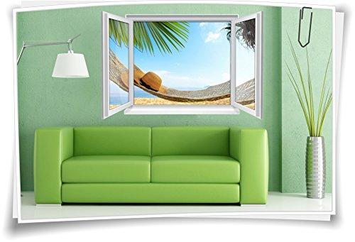 Medianlux 3D venster muurschildering muursticker sticker strand zee hangmat reis woonkamer
