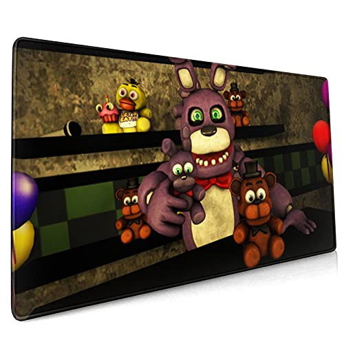 Fnaf Gran Alfombrilla de ratón para juegos 15.8x35.5 en superficie ultra lisa alfombrilla de ratón de goma natural para el hogar negro 40*90 cm