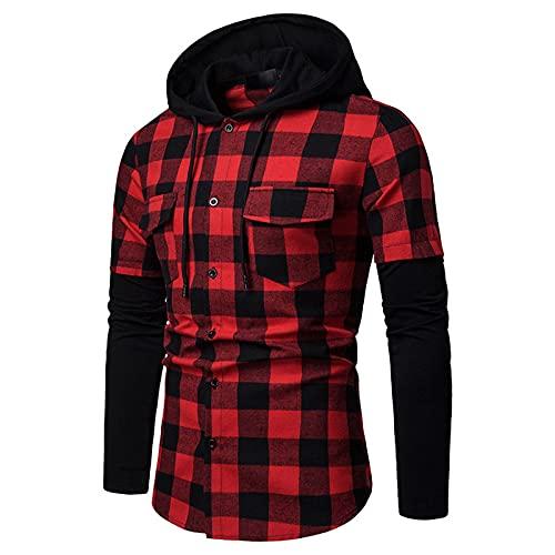 Sudadera con capucha para hombre, chaqueta a cuadros, con cordón, bolsillo con capucha, resistente a las heladas y al viento.