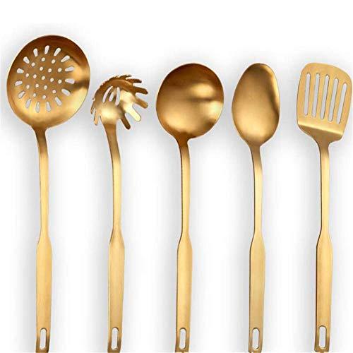 DXDJY-XHL Edelstahlgeschirrset, dick, Edelstahl, Kochgeschirr, titanbeschichtet, 5er-Set, Küchenhelfer - Gold