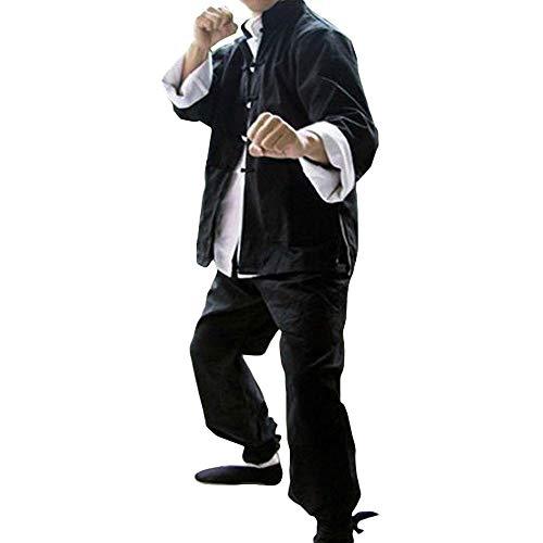 G-LIKE Kung Fu Uniform Set - Chinesische Klassische Kampfkunst Tai Chi Wushu Wing Chun Bruce Lee Dreiteilig Kostüm Herren Damen Kleidung Baumwolle Tang Anzug - Schwarz (L)