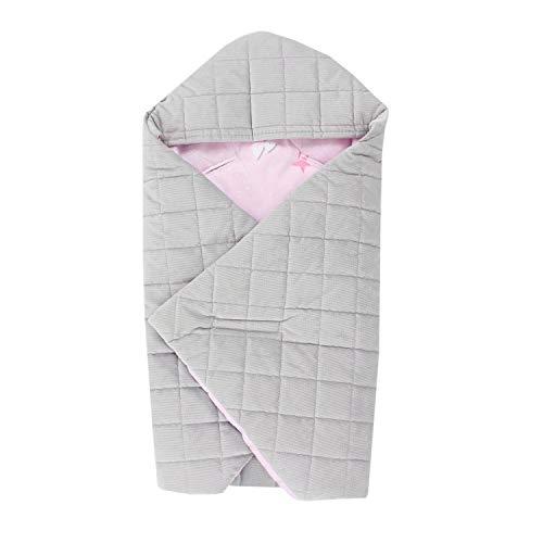 TupTam Baby Winter Einschlagdecke für Babyschale, Farbe: Bärchen Rosa/Grau, Größe: ca. 75 x 75...