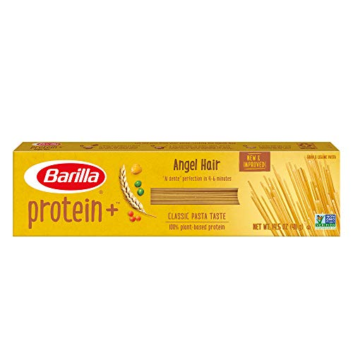 BARILLA Protein+ (Plus) Angel Hair - Protein from Lentils, Chickpeas & Peas - Good Source of Plant-Based Protein - Protein Pasta - Non-GMO - Kosher Certified - 14.5 Ounce Box (Pack of 20)