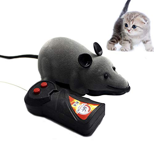 NUM Remote Control Rat Toy, TopSeller Wireless Remote Control Mouse Toy Fake Giant Realistic Rat RC Toy Prank Joke Scary Trick Bugs Gags for Kids Children Christmas Birthday Gifts Cat Dog Toys (Gray)