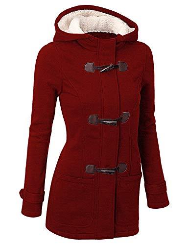 GHYUGR Cappotto con Cappuccio Donna Invernale Autunno Elegante Lungo Giacca Cotone Hoodies Classico Felpa Pulsante Corno Outwear,XXL,Vino Rosso