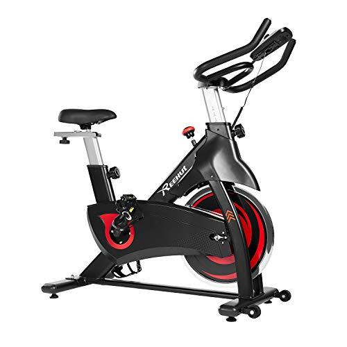 REEHUT Bicicleta Spinning Interior, 14kg Bicicleta Estática Dinámica de Rueda Volante con Sólido Marco Triangular, Amplio Asiento y LCD Pantalla Electrónica con Soporte para Teléfono Móvil