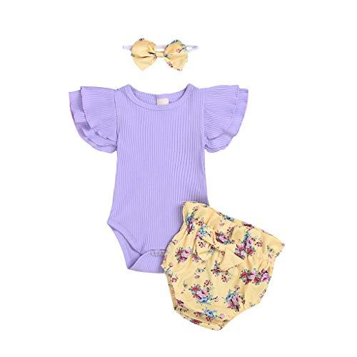 Ropa Bebe Niña Verano Fossen Recién Nacido 0 a 24 Meses Monos con Volantes y Florales Pantalones Cortos,Conjunto/2PC (Morado, 12-18 Meses)