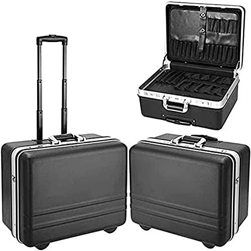 Meditool Werkzeugkoffer Werkzeugtrolley Werkzeugkasten Rollkoffer Werkzeug Trolley Set mit Schlüssel und Werkzeugtafel (Schwarz 1)