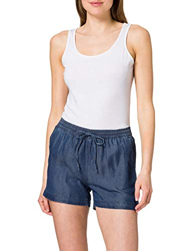 ONLY Damen ONLPEMA Lyocell Life DNM Box Jeans-Shorts, Dark Blue Denim, S