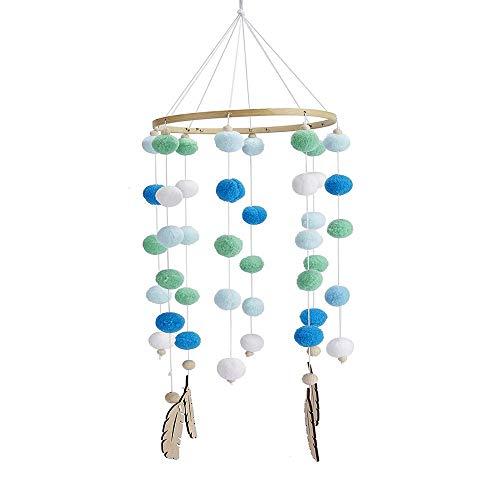 Mobile mit Filzbällen und Federornamenten, zum Aufhängen über dem Kinderbett (Blau)