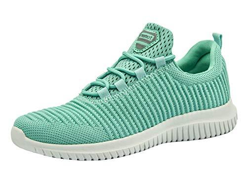 riemot Damen Laufschuhe Leicht Turnschuhe Atmungsaktiv Knit Sneaker Fitness Sportschuhe Grün 41 EU