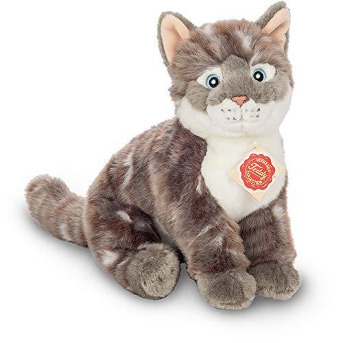 Teddy Hermann 91828 Katze sitzend grau getigert 24 cm