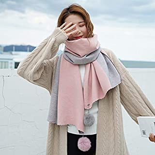 Winter Long Scarf Scarf Female Autumn and Winter Shawl Dual-use Double-Sided Color Matching Warm Autumn Wild Padded Student Collar (Color : Dark Green) Winter Soft Scarf (Color : Pink)