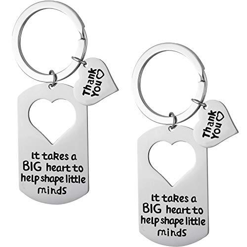 Tatuo 2 Pieces Teacher Keychain Teacher Appreciation Gifts Teacher Jewelry for Showing Your Appreciation