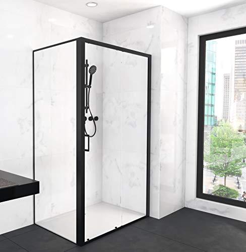 MARWELL CITY Glasdusche mit Fronteinstieg 80 x 120 x 200 cm - hochwertiger Aluminiumrahmen 6mm starkes Einscheibensicherheitsglas, Matt Schwarz