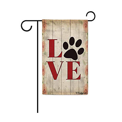Love Dog Paw Print Wooden Background Garden Flag 12.5x18 Inch Print Double Sided