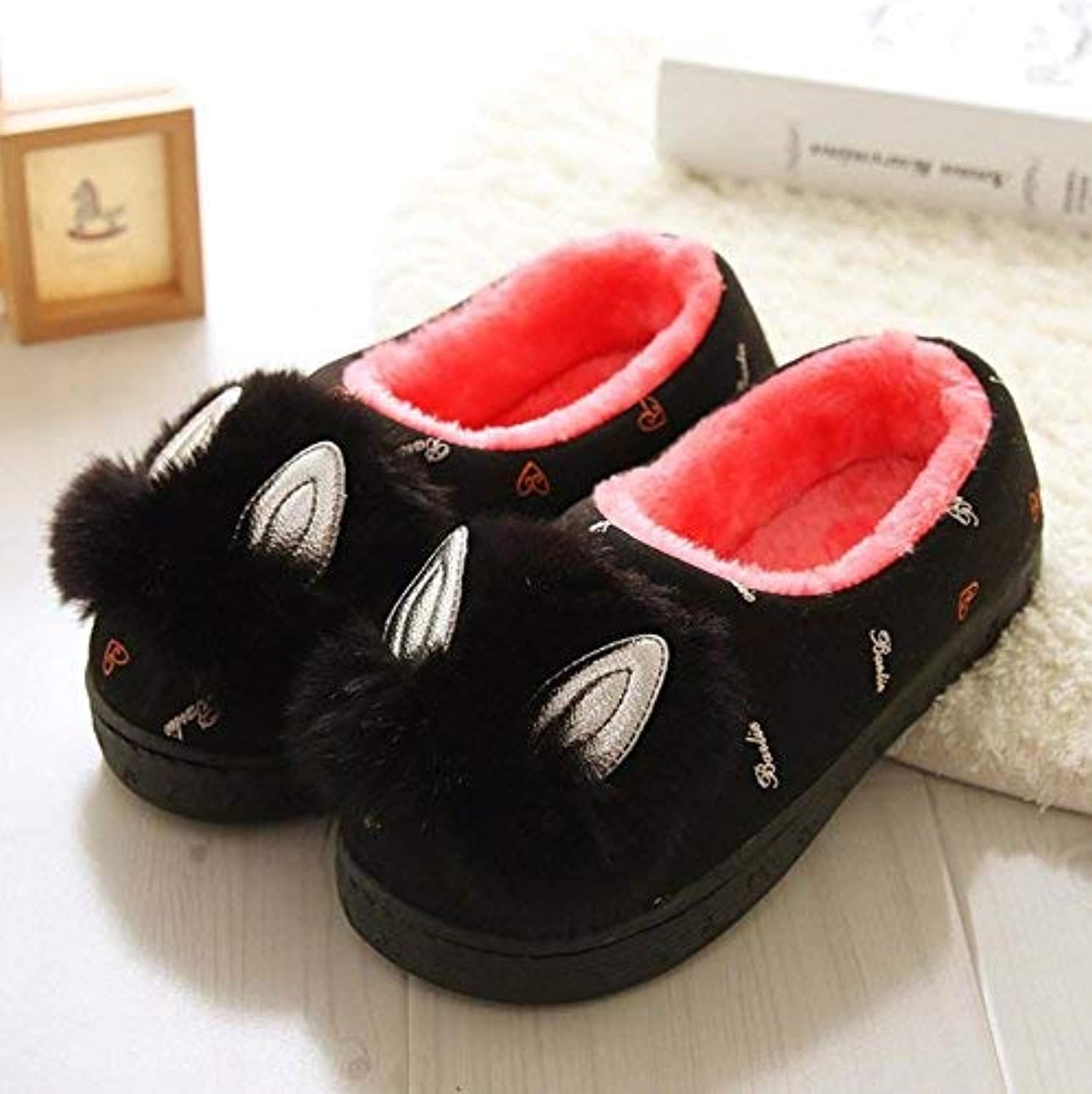 JaHGDU Women 's Home Cotton Cute Slippers Indoor Keep Warm Casual Slippers Black Mixed color Personality Quality for Women Small