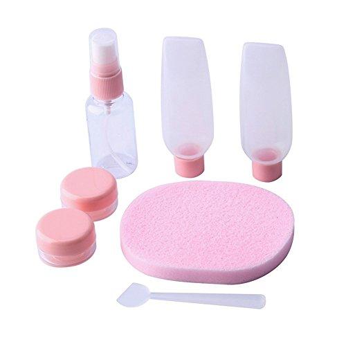 7 Stück Reiseflaschen-Set, Airline Flug Nachfüllflaschen Toilettenartikel Flüssigbehälter Organizer für Shampoo, Conditioner, Lotion, Kosmetik, Make-up (Pink)
