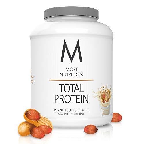 MORE NUTRITION Total Protein Eiweiß-Pulver mit Whey und Casein – 600 g Peanutbutter Swirl (+ weitere Sorten) - Mit Aminosäuren und Laktase – Anti-Heißhunger, Gewichtsmanagement und Muskelaufbau