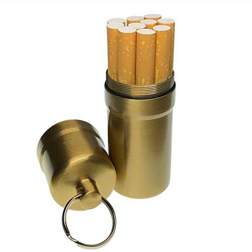 cobalt planet シガレットケース タバコ10本収納 携帯灰皿 防水 キーホルダー 合金 アウトドア 耐湿防圧 (ゴールド)