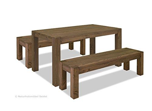 Sitzgruppe Rio Bonito Farbton Cognac braun mit Esstisch 140x80cm + 2x Sitzbank 140x38cm Pinie Massivholz geölt und gewachst Tisch und Bank, Optional: passende Bankauflagen und Ansteckplatten