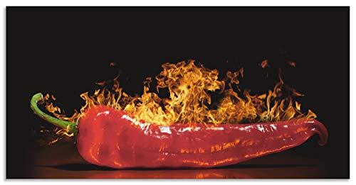 Artland Spritzschutz Küche aus Alu für Herd Spüle 100x50 cm Küchenrückwand mit Motiv Essen Lebensmittel Gewürze Chili Flammen Modern Dunkel Rot S7PR