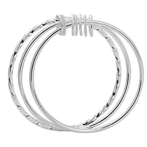 Damen Armband Sterlingsilber 999 Armreif Mit 3 Geschlossenen Ringen, Geburtstagsgeschenke Mit Kostenloser Schmuckschatulle