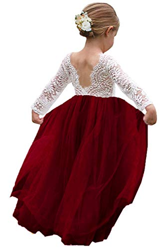 Girl Toddler Full-Length Straight Tulle Tutu Lace Back Party Flower Girl Dress (4-5 Year, Sleeve-Wine red)