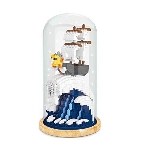 BAIDEFENG Bausteine Kreative Big Fish Baukasten (Acryl Box Mit Lichtmast) Micro-Diamond 3D Puzzle Micro Bricks Kind Baustein Spielzeug,D
