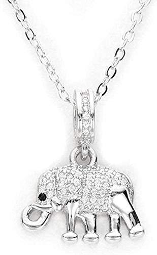 Collar con colgante de elefante de cristal, collar de cadena larga de color plateado para mujer, collar