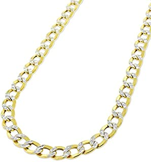 """10K Yellow Gold Hollow Cuban Curb Link Two-Tone Diamond-Cut White Pave Necklace Chains 3.5MM 4.5MM 5MM 6.5MM 8MM 16"""" - 30"""", Men & Women, In Style Designz"""