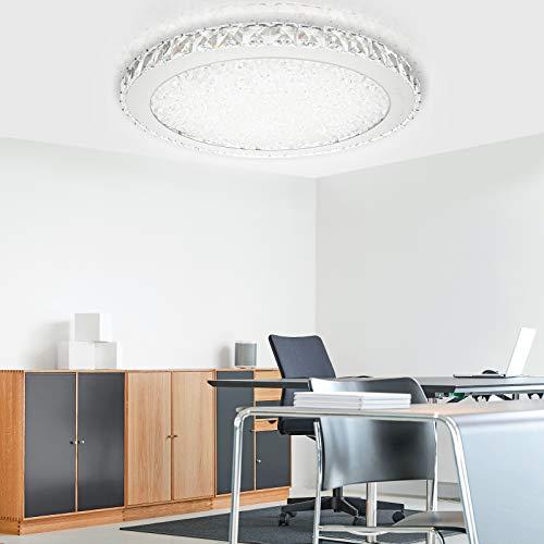 wolketon LED Kristall Deckenleuchte Dimmbar 48w Deckenlampe Runde Deckenbeleuchtung für Flur Wohnzimmer Schlafzimmer Küche Wandlampe Mit Fernbedienung [Energieklasse A++]
