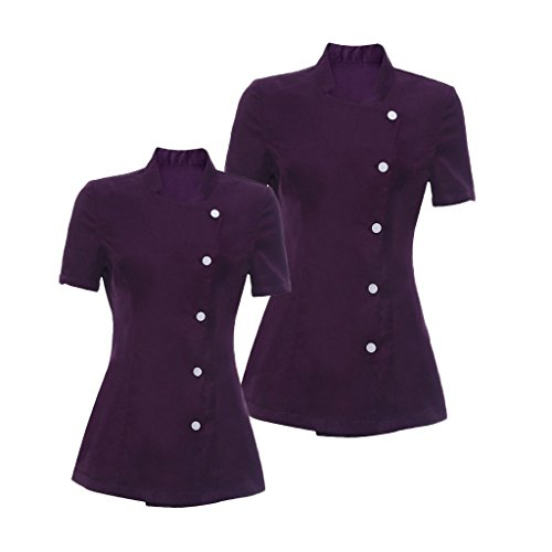 non-brand 2x Camisa de Esteticista Cosmetólogo Hermosura Masajista Salón de Belleza Spa Peluquerias Uniformes Morados M L - Púrpura, Única