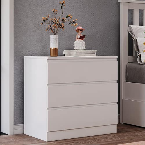 Panana Wooden 3/4/5/6 Chest of Drawers with Metal Runners Modern Bedside Storage Cabinet for Living Room Hallway Bedroom (White, 3 Drawer Chest)