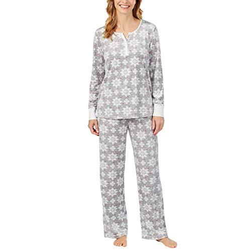 Nautica Womens 2 Piece Fleece Pajama Sleepwear Set (Small, Grey White Snow)